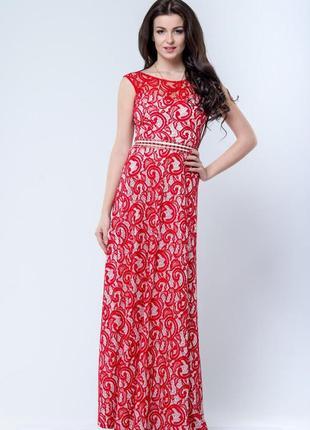 Нарядное длинное платье из гипюра на контрастной подкладке, р....