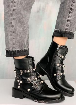 Демисезонные ботинки с ремешками,чёрные демисезонные ботинки н...