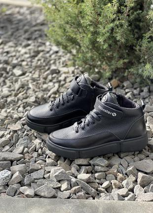 Натуральная кожа! подростковые ботинки кожаные зимние черные
