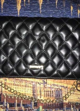 Кожаный чёрный клатч сумочка на цепочке