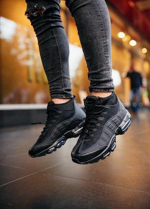Кроссовки nike air max 95 sneaker boot black черные найк термо...