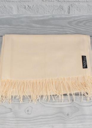 Кашемировый шарф, палантин кремовый