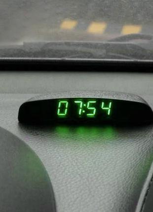 Электронные автомобильные часы + термометр + вольтметр - ЗЕЛЕНЫЙ