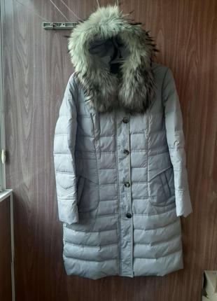 Пуховик куртка зимняя женская натуральный пух мех капюшона 48 р-р