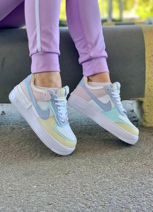 Кожаные кроссовки nike air force shadow разноцветные