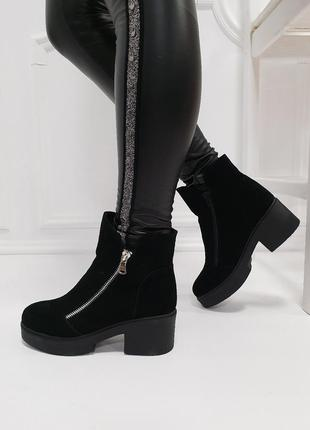 Женские ботинки черные на каблуке натуральная замша OSSO