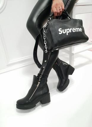 Женские ботинки черные на каблуке натуральная кожа OSSO