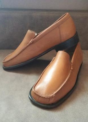 Рыжие кожаные туфли лоферы ручная работа--39р ручная работа