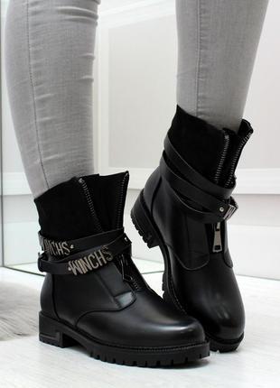 Чёрные зимние тёплые ботинки полусапоги на меху. 36-41