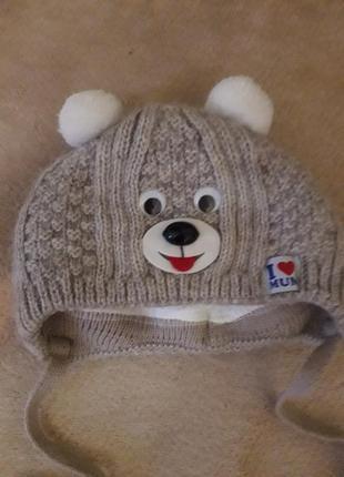 Теплая шапочка, шапка для новорожденного