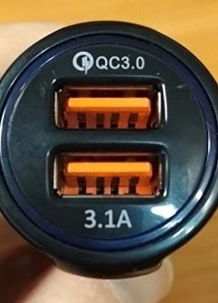 Зарядное устройство 2 порта USB адаптер автомобильное в прикур...