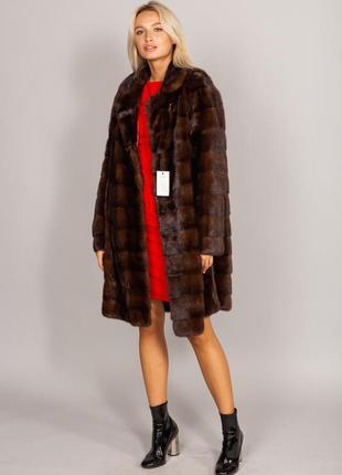 Шуба норковая с английским воротником пальто норка поперечка и...