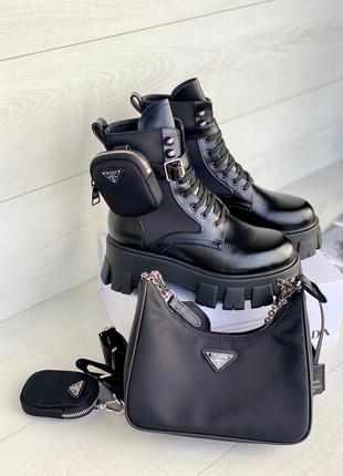 Ботинки женские натуральная кожа в стиле прада на шнуровке