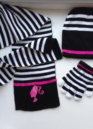 3шт. комплект шапочка + шарфик + перчатки 2-6лет