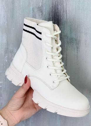 Белые демисезонные ботинки на шнуровке,демисезонные женские бо...