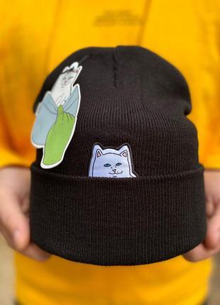 Шапка с подворотом 🧢 мужская шапка 🧢 черная мужская шапка