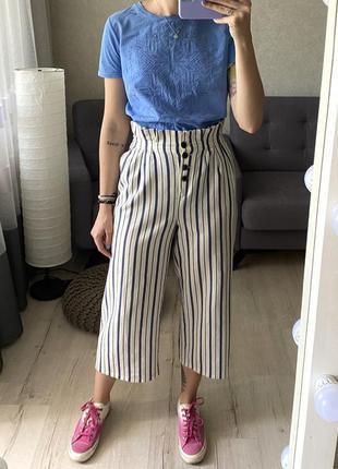 Льняные брюки/штаны кюлоты в полоску topshop