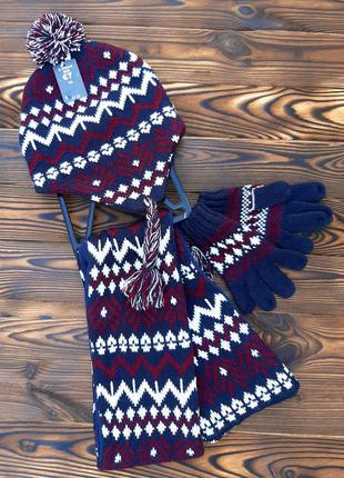Набор шапка шарф и перчатки primark