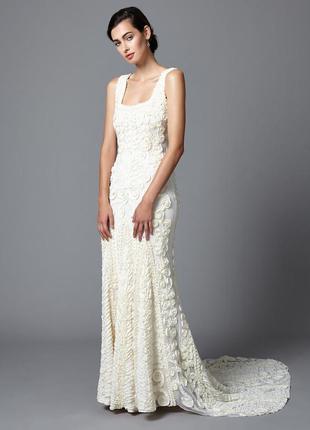 Свадебное вечернее выпускное платье со шлейфом пайетка бисер г...