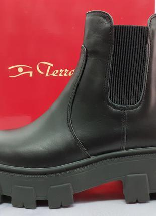 Скидка!демисезонные кожаные ботинки челси на платформе terra g...