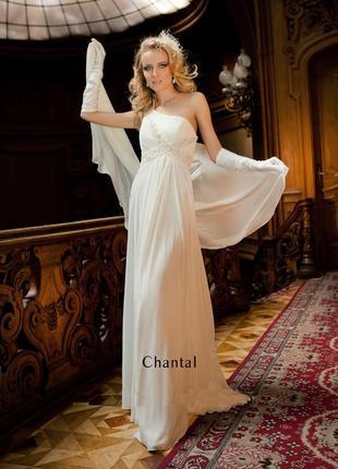 Свадебное кремовое вечернее платье в греческом стиле бренд oks...