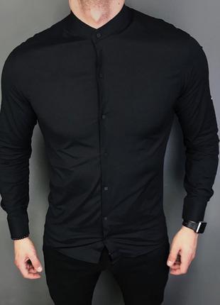 Стильная, черная, стрейчевая-хлопковая, приталенная рубашка