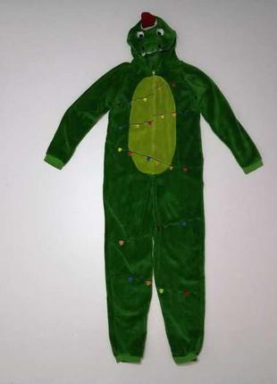 Детский карнавальный костюм новогодний зеленый дракон, в отлич...