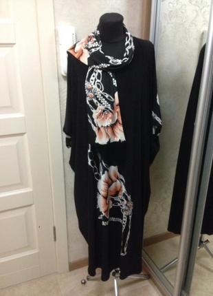 Красивое платье с шарфиком большого размера 64