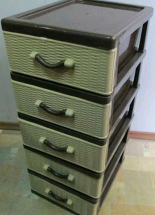 На 5 ящиков органайзер тумба этажерка шкафчик пластиковый новый