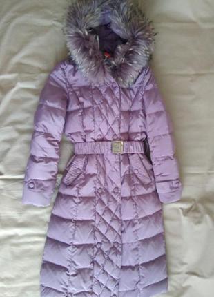 Пуховое пальто мех енот
