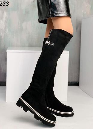 Черные высокие сапоги ботфорты на платформе, зима