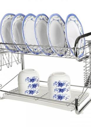 Сушилка для посуды Edenberg EB-2108 нержавеющая сталь 2 яруса ...