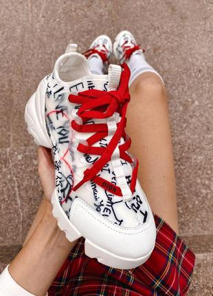 Крутые кроссовки dior d-connect «i love you» white & red