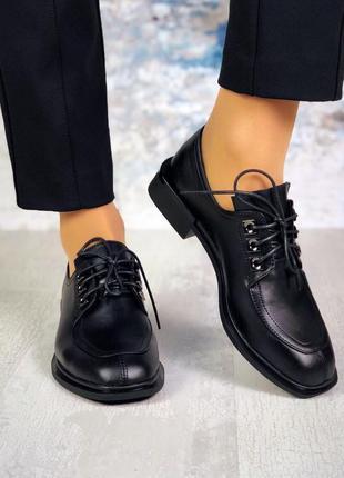 Р-р 36-40 кожаные закрытые туфли на шнурках с квадратным носком