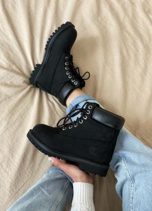 Черевики timberland 6 inch premium black (без меха) ботинки