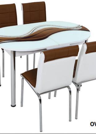 Комплект обеденной мебели стол овал+4 стула с  декором