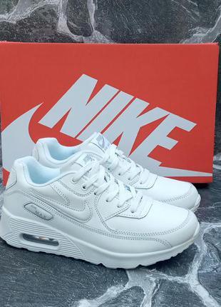 Подростковые кроссовки nike air max 90 белые,кожаные, осенние
