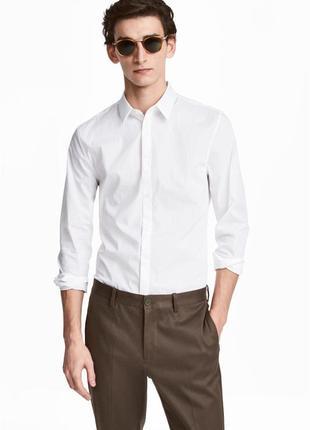 Белая рубашка h&m стретч , slim fit !