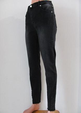 Женские джинсы приуженые с высокой посадкой, черные код 1073м