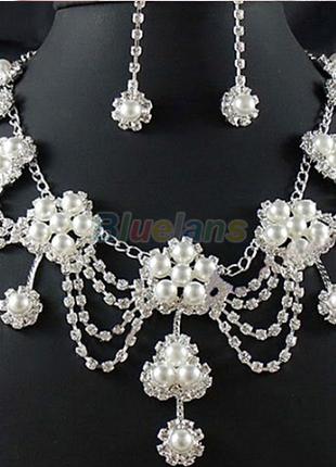 Свадебный  набор - новый  (серьги + ожерелье)