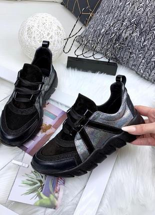 Sale! замшевые кожаные кроссовки с голографическими вставками