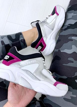 Sale! разноцветные кожаные замшевые кроссовки на массивной под...