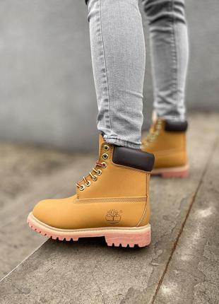 Ботинки timberland brown beige черевики термо