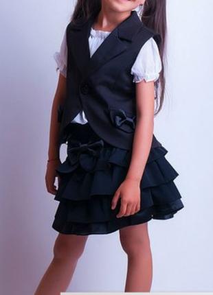 Модный школьный костюм черный, т.-синий, 110-138