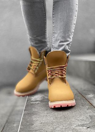 Ботинки timberland fur на меху brown orange beige черевики