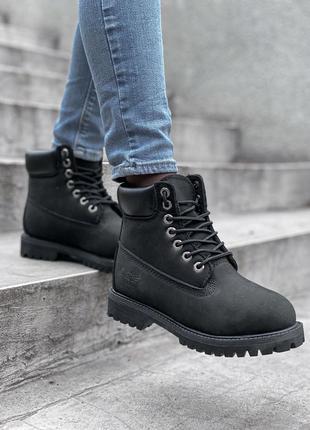 Ботинки timberland black fur черевики на меху