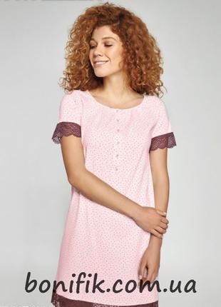 Модная ночная сорочка с кружевными рукавами арт. LND 335/001