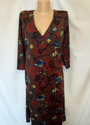 Распродажа!  стильное трикотажное платье с драпировкой и необы...