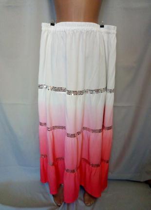 Распродажа!   шикарная  юбка в пол, градиент, пайетки, большой...