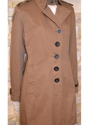 Р.48 стильное фирменное утеплённое плащ-пальто прямого кроя, б...